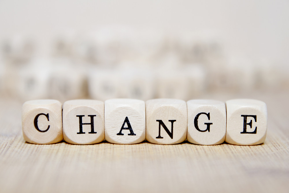 "Scrabble blocks spelling the word ""change"""