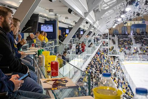 Employees watching the University of Michigan hockey team at Yost Ice Arena.