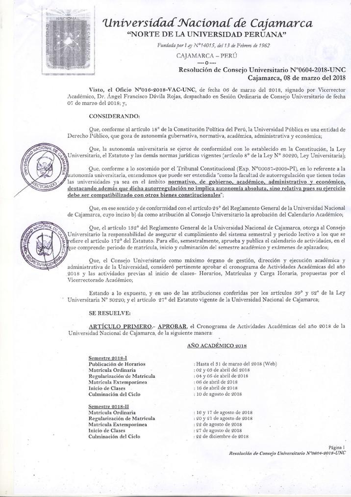 RESOLUCIÓN DE CONSEJO UNIVERSITARIO N° 604-2018-UNC