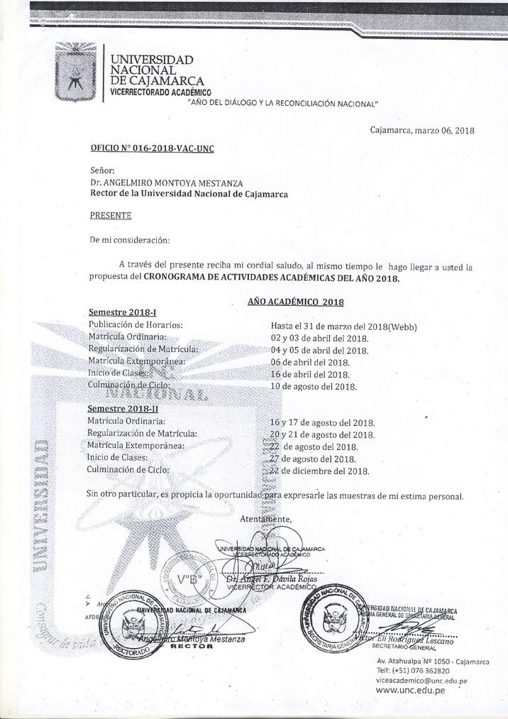 CRONOGRAMA DE ACTIVIDADES ACADÉMICAS DEL AÑO 2018