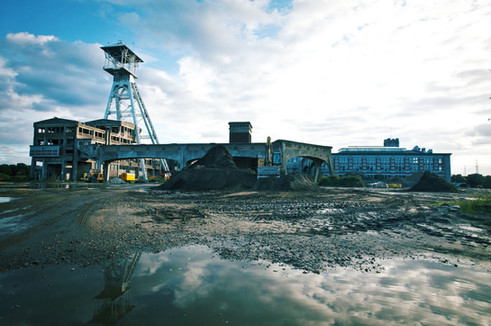Industrial complex of the former coal mine in Waterschei Genk (op. 1924 – 1987)   One of 9 mines in the Kempen (Campine) region (NE BE / SE NL)   Coal discovered in 1901 by geologist Andre Dumont