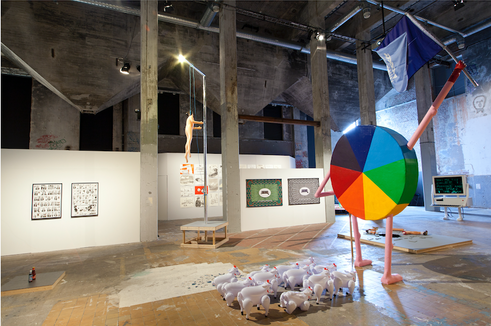 Installation view with work by (clockwise): Liv Stromqvist, Otobong Nkanga, Nevan Lahart