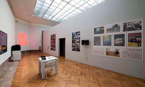 Installation view with work by (clockwise): Panos Kokkinias, Nikos Navridis, Guerilla Optimists, Maria Papadimitriou