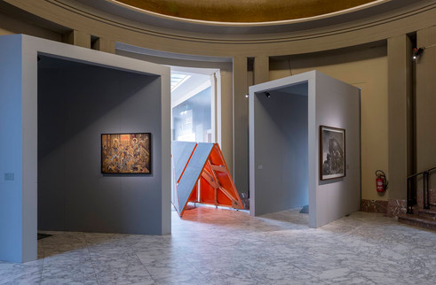 Installation view with works by (left to right): Stelios Faitakis, Zissis Kotionis, Dionisis Kavallieratos