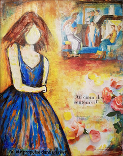 The girl in blue, mixed media art on canvas, 50x40cm, natural wood frame. CHF 350.-