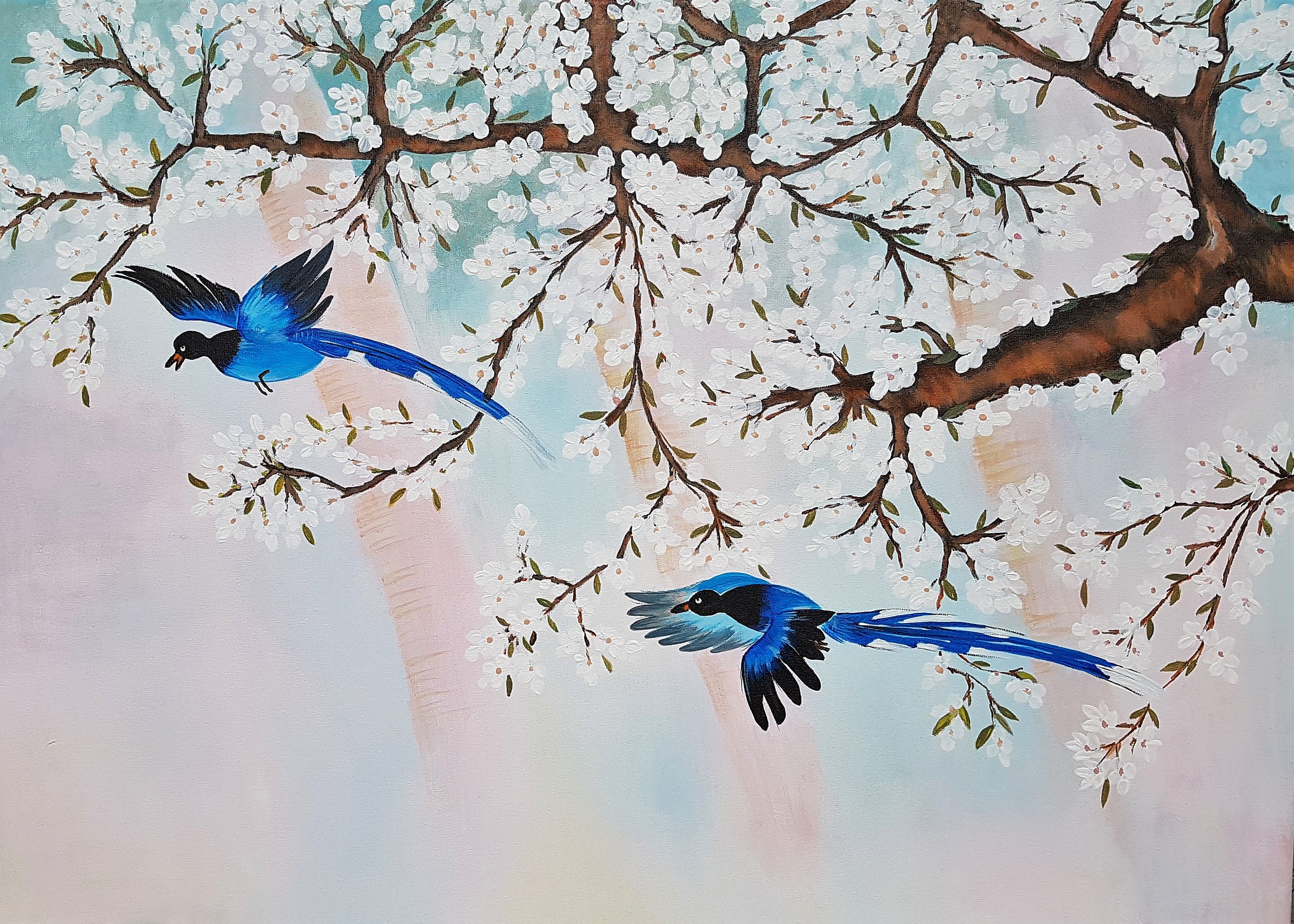 Birds on a cherry tree