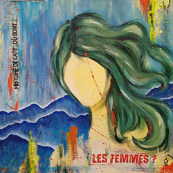 Les femmes, mixed media art on canvas, 40x40cm, silver wood frame. CHF 330.-