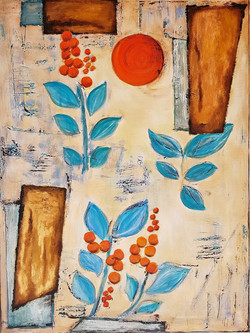 Orange sun and blue leaves
