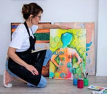 Lu Monin at her art studio in Pully, Switzerland.