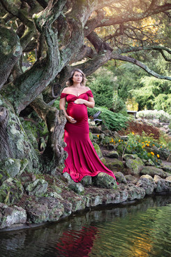 Pregnant Lady in a red dress by a pond