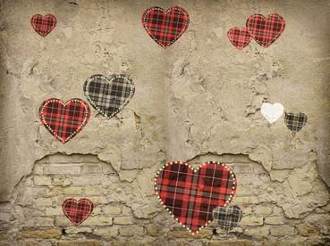 Check Hearts Valentine Backdrop