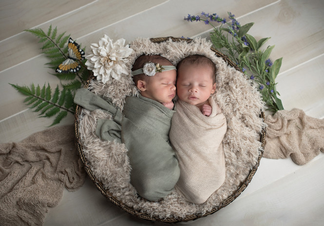 Newborn boy and girl