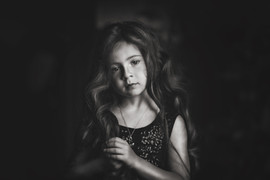 Black and white of a little girl