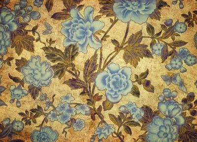 Blue Flowers on Mustard Wall