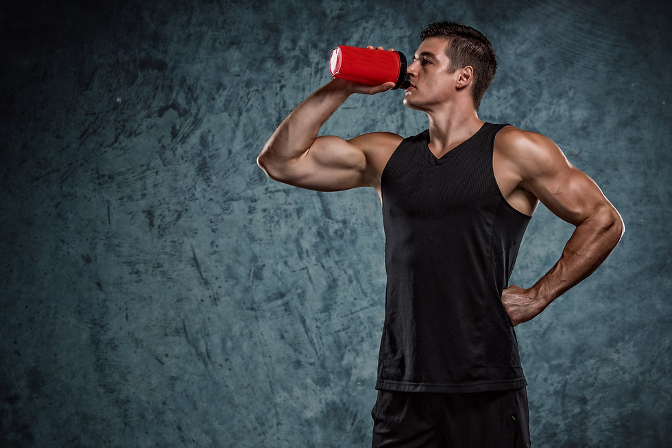 Muscular Men Drinks Protein Drink, Energ