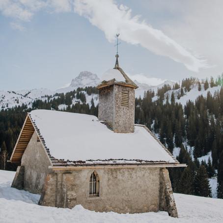 Wintersport in Le Grand-Bornand, Frankrijk