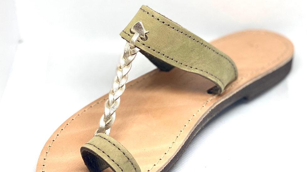 Nu-pieds ATHENA kaki-doré