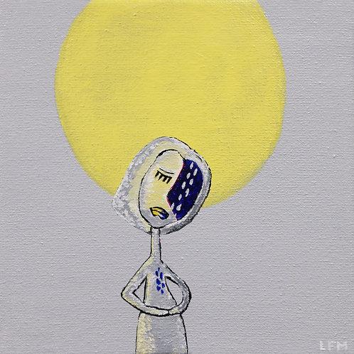 Mary to the Moon - (acryl op doek 15x15cm)