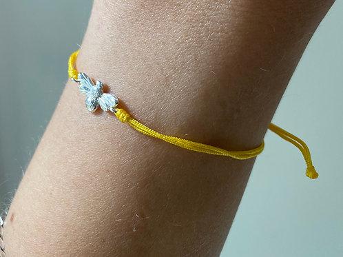 Armband - geel met bijtje (zilver)