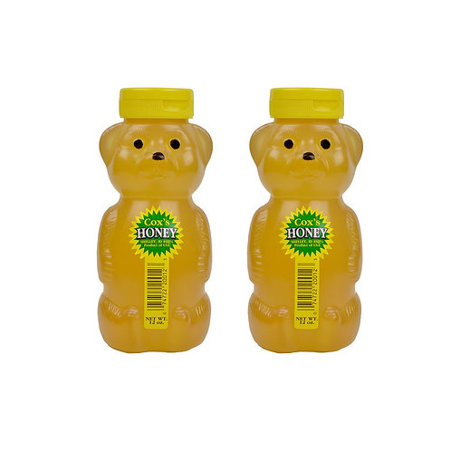 Two 12 oz Raw Clover Honey Bears