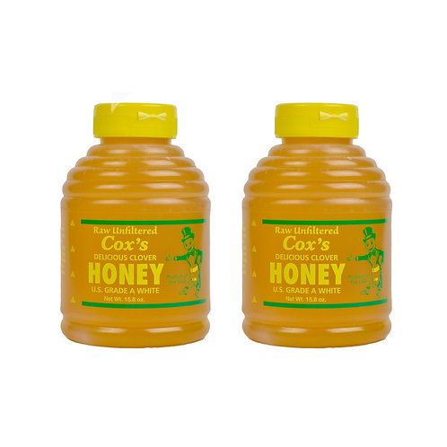Two 16 oz Raw Clover Honey Bottle