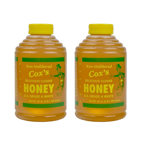 Two 32 oz Raw Clover Honey Bottle