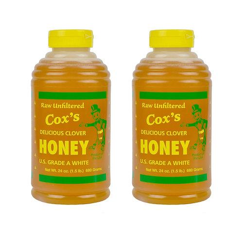 Two 24 oz Raw Clover Honey Bottle