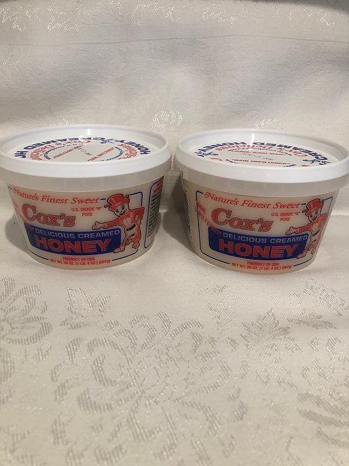 Two 20 oz Raw Creamed Honey Tub