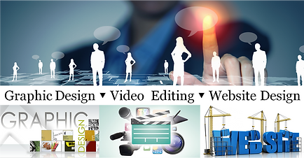 Video editing, Graphic Design and website design