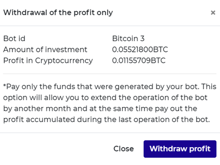 Smart Trade Coin GO I withdraw earned bitcoins from my bot after 55 days . Over 20% of the amount in