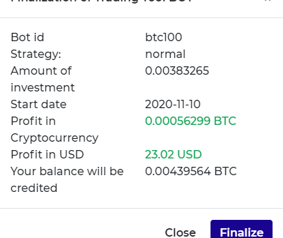 I close one of the positions in bitcoin in Smart Trade GO after 60 days of work. See my income