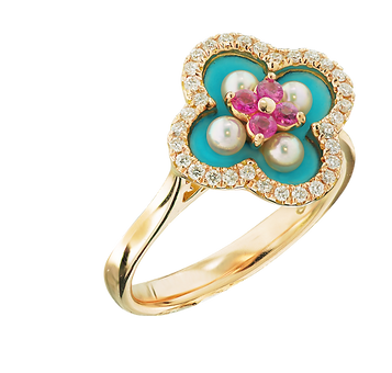 In Europe with Love Enamel Ring - Caratell Fine Jewellery Collection