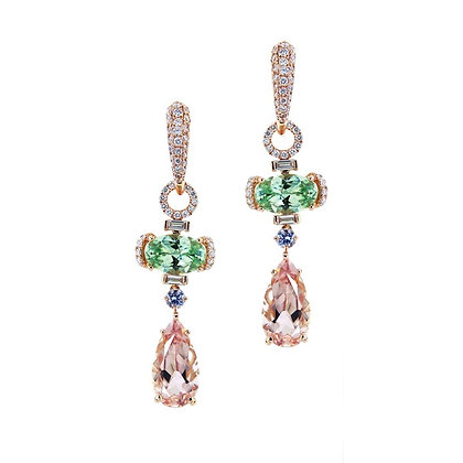 Tsavorite, Morganite and Diamond Earring