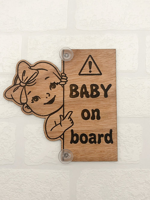 Baby On Board Vertical Sign - Girl