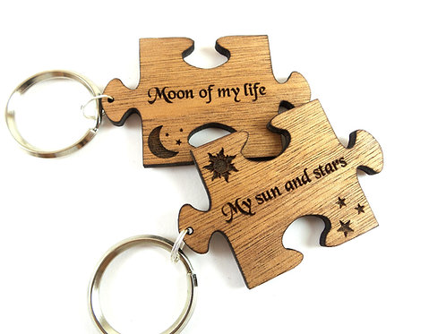 Puzzle Keychains Moon of my life ~ My sun & stars -