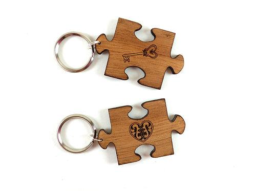 Puzzle Keychains - heart & key