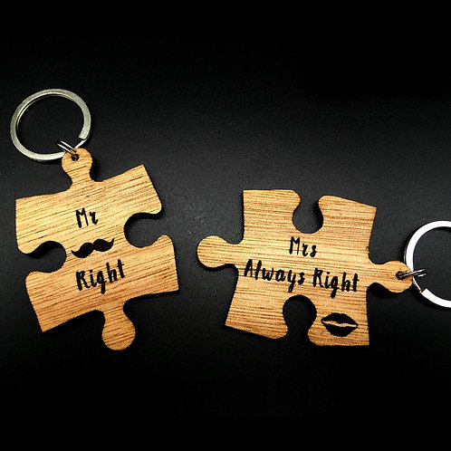 Mr Right / Mrs Always Right Puzzle Keychains