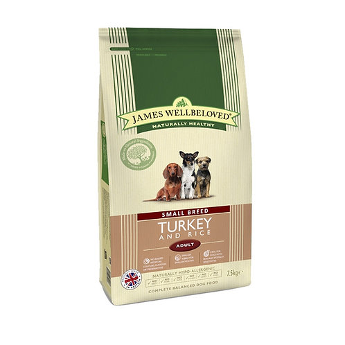 James Wellbeloved Dog Food Adult Small Breed Turkey and Rice 1.5kg
