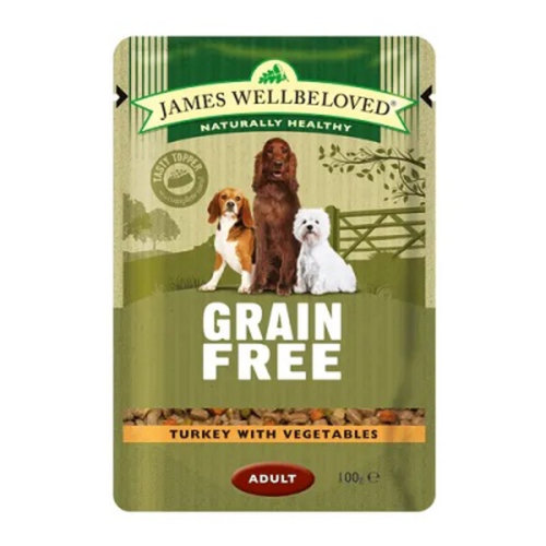 James Wellbeloved Dog Food Adult Turkey Pouches Grain Free Pouches 12 x 100g