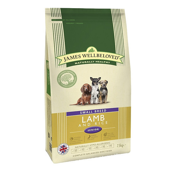 James Wellbeloved Lamb & Rice Small Senior Dog Food 7.5kg