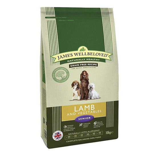 James Wellbeloved Grain Free Lamb & Veg Senior Dog Food 10kg