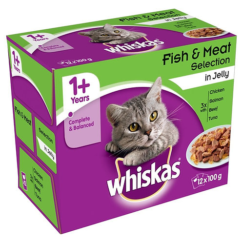 Whiskas 1+ Fish & Meat Selection in Jelly Pouches 12 x 100g