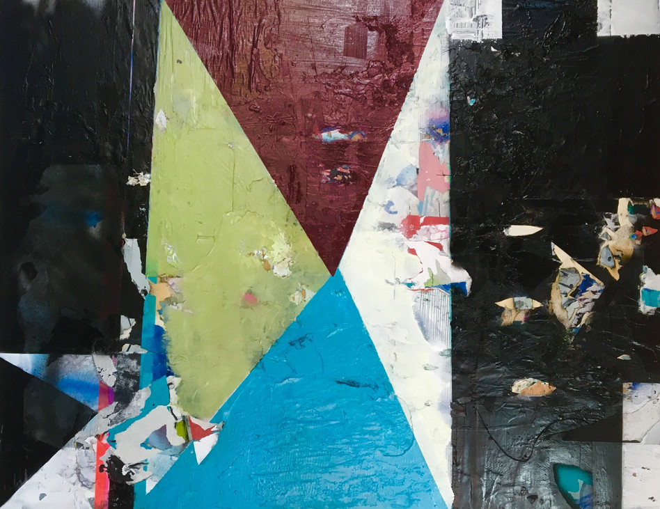 74 x 58 cms, collage, acrylic and spray paint on board