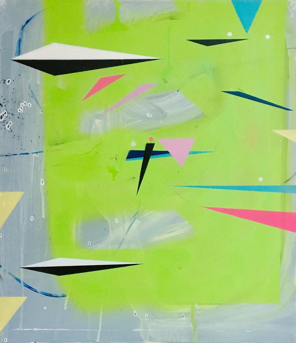 2018, acrylic and spray paint on board 30 x 40cm