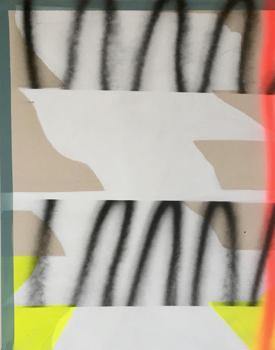 55 x 70cm, acrylic and spray paint on canvas