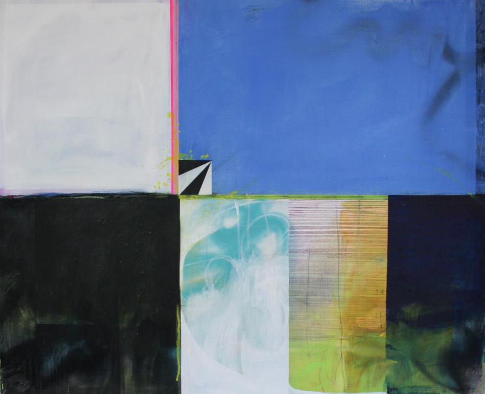 2018, acrylic, spray paint, charcoal and pen on canvas, 110 x 90cm