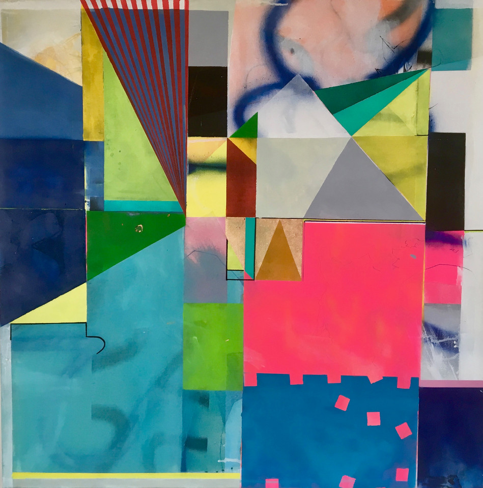 90 x 90cms, acrlic and spray paint on canvas