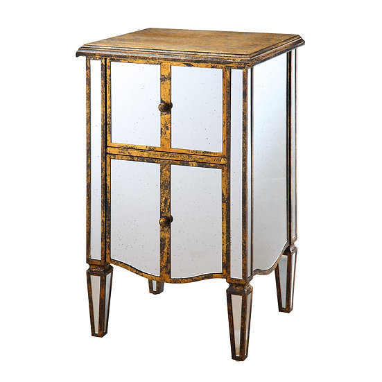 Wood & Antique Glass Mirrored Side Table