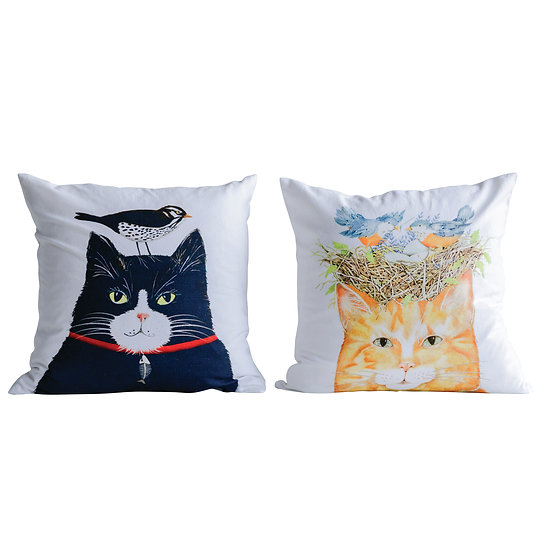 Mary Square Cotton Cushion w/ Cat, 2 Styles ©
