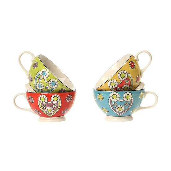 Stoneware Hand-Painted Mug, 4 Styles
